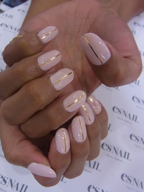 Light Pink Gold Stripe Acrylics