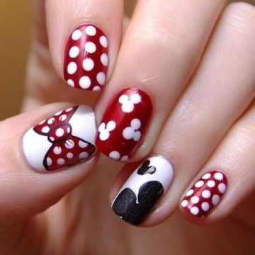 minnie mouse red nails