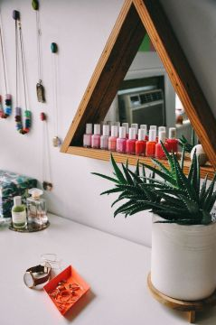 nail polish storage - triangular shelf