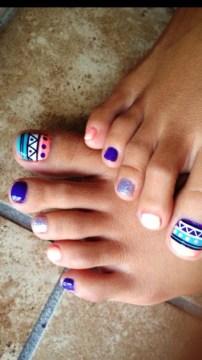 pastel geometric nail design