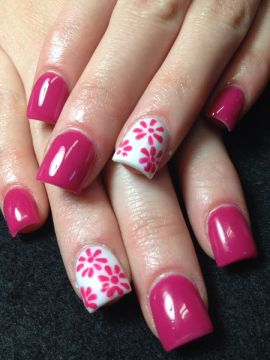 pink flowers acrylic nail design