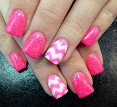 pink glitter chevron acrylics