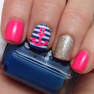 pink nautical unique nail designs