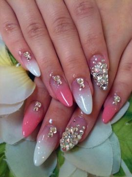 pink white acrylics swarovsky stones