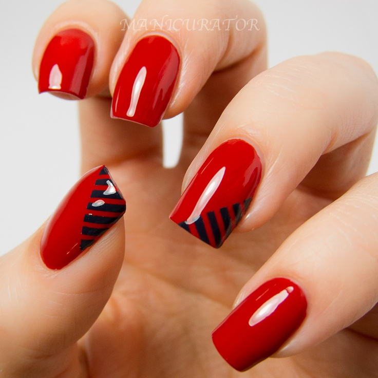 red nails black accents - 40 Red Nail Designs You'll Love, Get Creative! - FMag.com