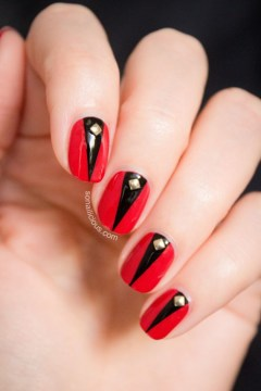 red nails studs black inserts