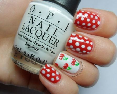 red polka dot nails accent nail cherries
