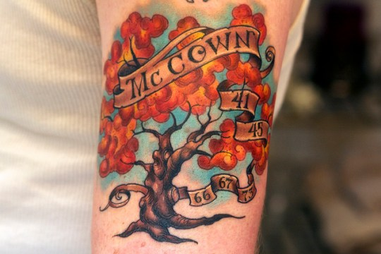 Colorful Autumn Family Tree Tattoo