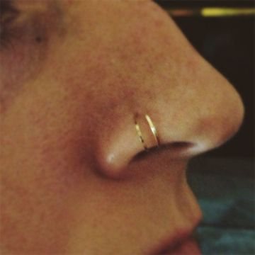 cute double nose ring loop