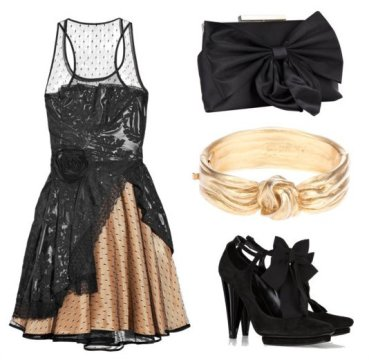 Black Cocktail Dress with Accessories