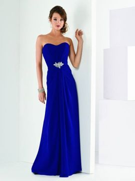 JOR_Draped Europa Chiffon strapless gown with beaded accent
