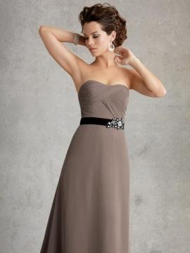 JOR_Draped chiffon bodice with set in satin waistband with beaded accent