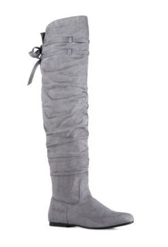 Kneehighboots Grey Flat