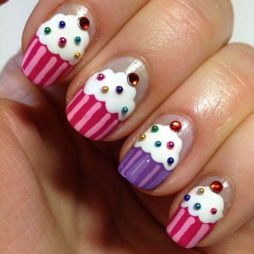 18 amazing nail designs ideas for birthday fmag cupcakes x5 prinsesfo Image collections