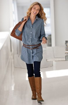 Denim tunic with leggings