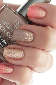Taupe and gold glitter nails