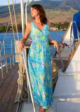 flowery blue cruise wear/ resort wear