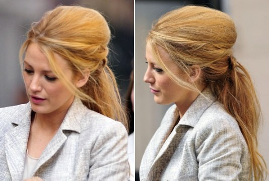Blake Lively's Big Messy Bouffant Ponytail Hairstyle