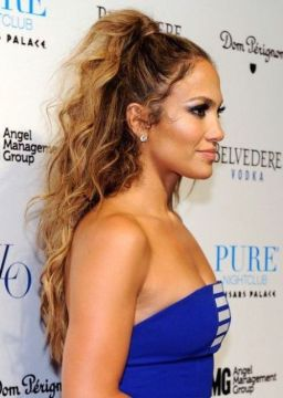 J Lo Curly High Ponytail