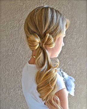 Line Bow Curled Side Ponytail for Long Hair