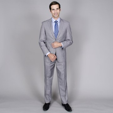 Men's Grey 2-button Wool and Silk Blend Suit