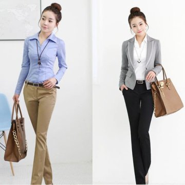 Slacks with Long Sleeve Shirt and Top with Blazer for Women