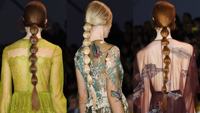 Waist Length Segmented Ponytails at Fashion Week