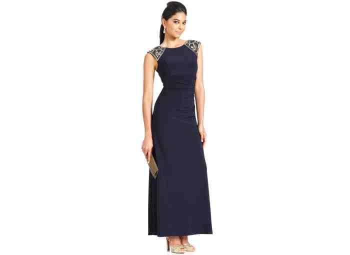 Xscape Cap-Sleeve Beaded Ruched Gown - FMag.com