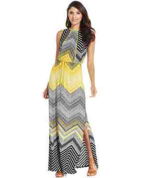 sangria chevron tribal-print maxi dress