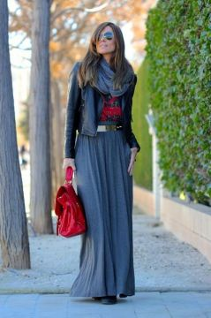 Layered maxi skirt outfit