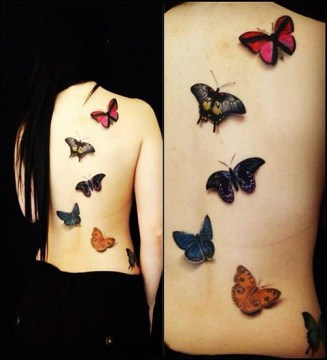 3D Butterfly Back Tattoo