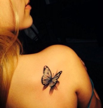 3D Butterlfy Tattoo on Side Back