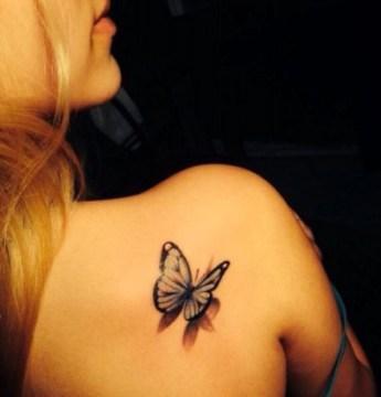 3D Butterlfy Tattoo on Side Back