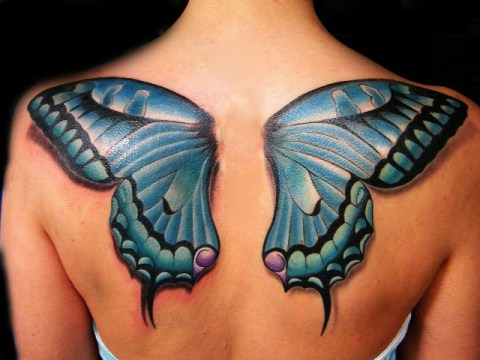 Blue Butterfly Wing Tattoo on the Back