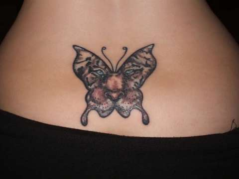 Butterfly Tiger Tattoo on Waist