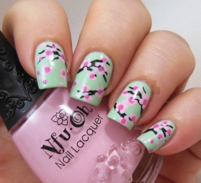 Cherry Blossom Pastel Floral Nail