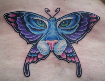 Feminine Colored Butterfly Tiger Tattoo