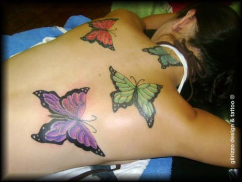 Four-Piece Colorful Butterfly Tattoos