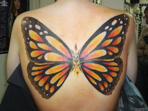 Full Monarch Butterfly Tattoo on the Back