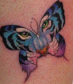 Gradient Tiger Butterfly Tattoo