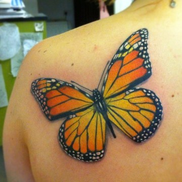 Half Back Shoulder Monarch Butterfly Tattoo