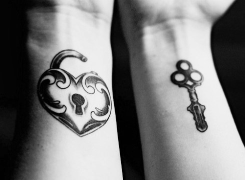Heart-shape Lock + Key Matching Couple Tattoo