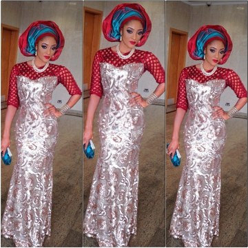 aso ebi long dress