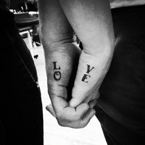 L O V E Matching Couple Tattoo