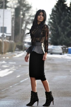 Leather Peplum Belt, Lace Blouse Asymmetric Pencil Skirt, Studded Boots