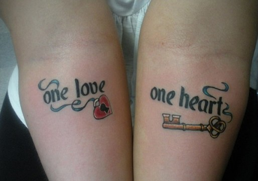 One Love One Heart Couple Tattoo