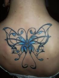 Open Wing Blue Butterfly Tattoo
