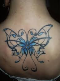 Open Wing Blue Butterfly Tattoo