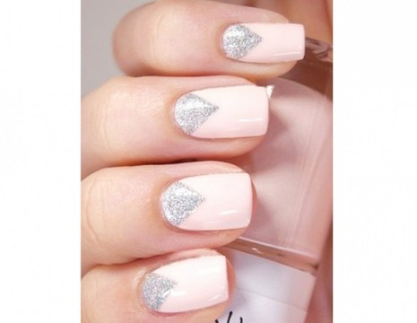 Pale Pink Triangular Half-Moon Wedding Nails