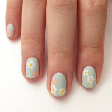 Pastel Floral Wedding Nail Design
